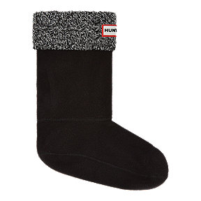 Hunter Women's Original Short Six Stitch Cable Rain Boot Socks - Black/Grey