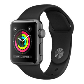 Apple Watch Series 3 GPS, 38mm Space Grey Aluminum Case with Black Sport Band