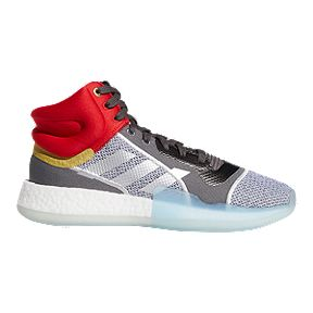 new concept b20c2 487b8 adidas Men s Marvel Thor Marquee Boost Mid Cut Basketball Shoes - White  Silver