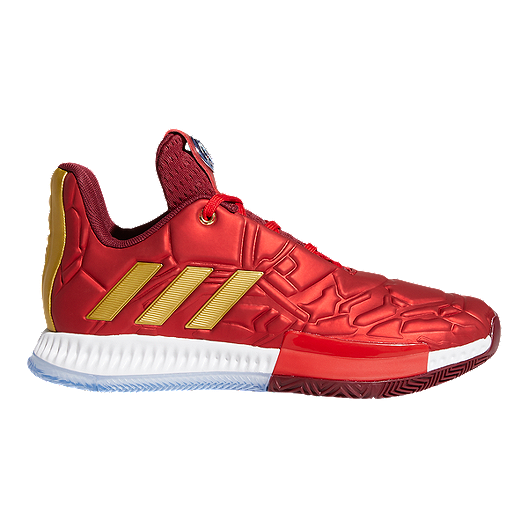 1f9cd06f01c16f adidas Boys' Marvel Iron Man Harden Vol. 3 Grade School Basketball Shoes -  Scarlet Red/Collegiate Burgundy/Gold   Sport Chek