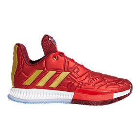 adidas Boys' Marvel Iron Man Harden Vol. 3 Grade School Basketball Shoes - Scarlet Red/Collegiate Burgundy/Gold