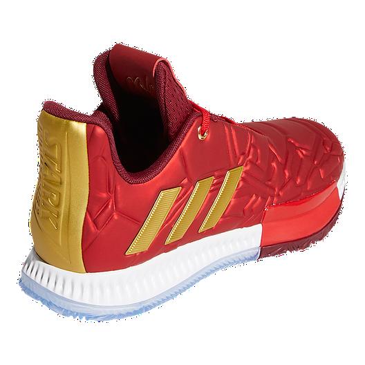 adidas Boys' Marvel Iron Man Harden Vol. 3 Grade School Basketball Shoes Scarlet RedCollegiate BurgundyGold