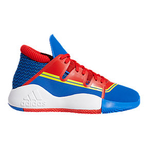 adidas Boys' Captain Marvel Pro Vision Grade School Basketball Shoes - Blue/Red/Bright Yellow