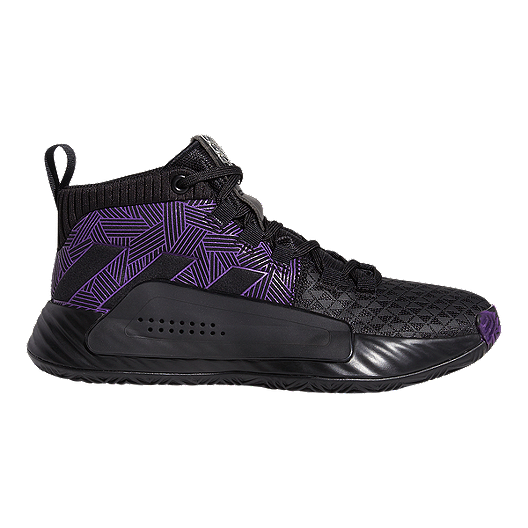 ee66cf3284c5c3 adidas Boys' Marvel Black Panther Dame 5 Grade School Basketball Shoes -  Core Black/Active Purple/Silver | Sport Chek