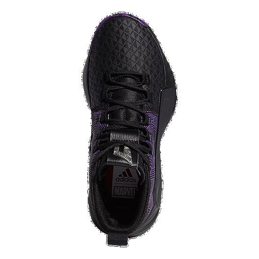 e8540a39 adidas Boys' Marvel Black Panther Dame 5 Grade School Basketball Shoes -  Core Black/Active Purple/Silver