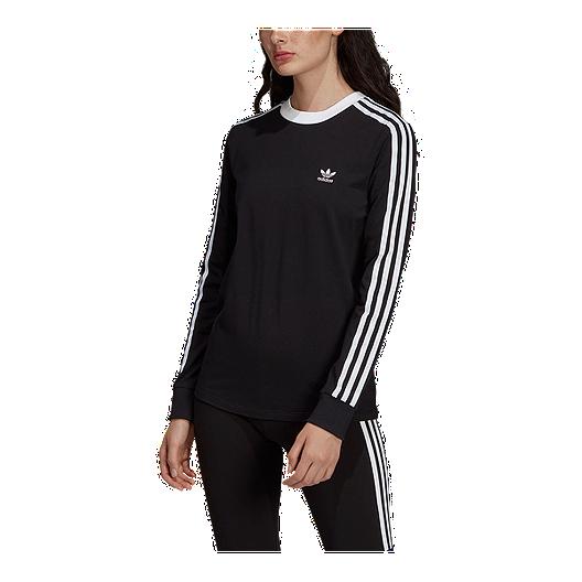 adidas Originals Women's 3 Stripe Long Sleeve Shirt Black