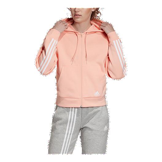 adidas Women's Must Haves 3 Stripe Hoodie Glow Pink