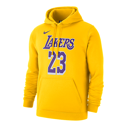 designer fashion 7489c 15ede Los Angeles Lakers Men's Nike LeBron James Hoodie - Yellow