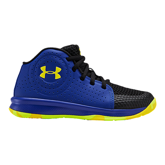 New Under Armour Boys Pre-School Jet Mid Basketball Shoes Blue 12 youth
