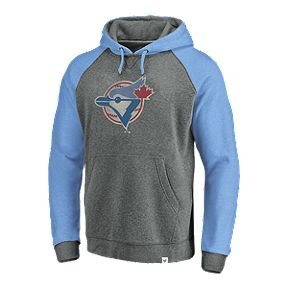 c9a2301df92 Toronto Blue Jays Men s Fanatics Cooperstown Large Distressed Logo Hoodie
