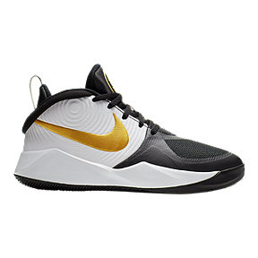 Nike Boy's Team Hustle D 9 Basketball Shoes - White/Black/Gold