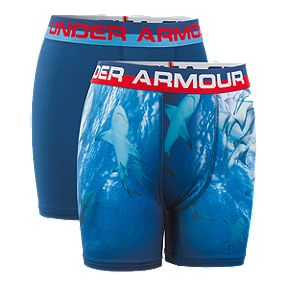 8156fc246e7959 Under Armour Boys' Performance Boxer Brief Underwear - 2 Pack - Shark