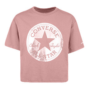 Converse Girls' Chuck Patch Metallic Tee - Pink