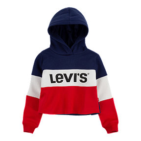 Levi's Girls' Colour Blocked Crop Pullover Hoodie