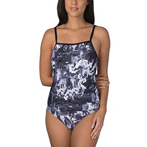 7dc60a43d4 Speedo Women's Print Cross Power Clip Back One Piece Swimsuit
