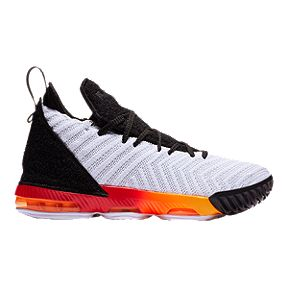 e4387089880c Nike Boys  LeBron XVI Grade School Basketball Shoes - White Black Orange