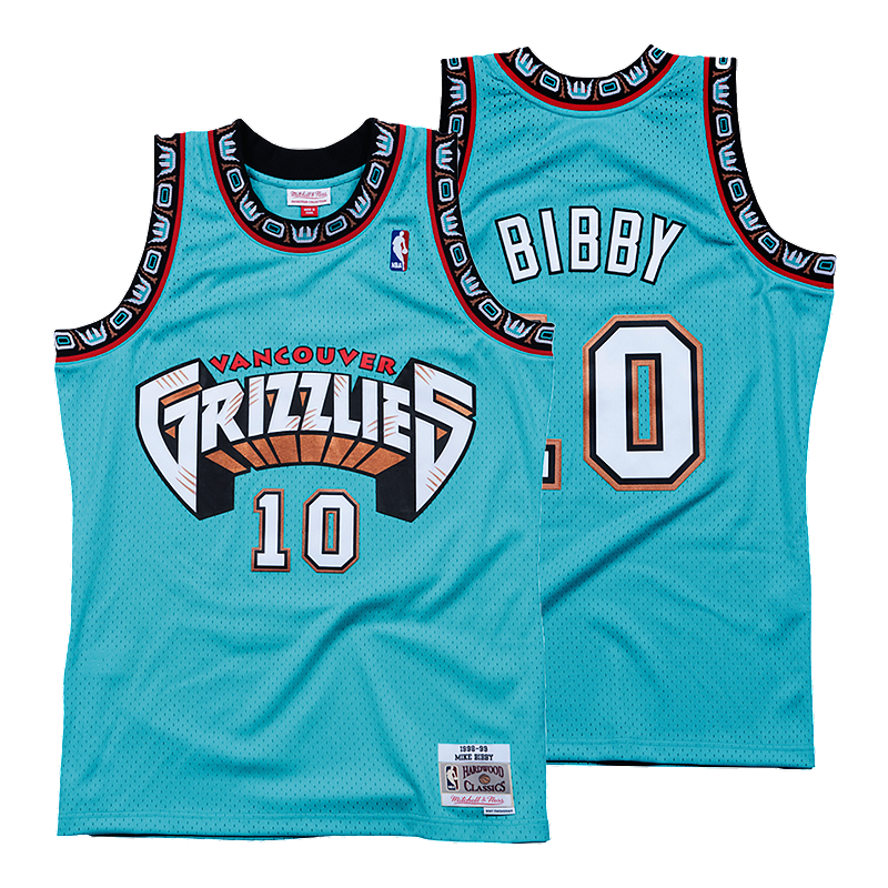 4207527bf73 Vancouver Grizzlies Mitchell and Ness Bibby Replica Teal Jersey ...
