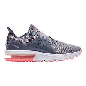Nike Girls' Air Max Sequent 3 Grade School Shoes - Gray/Pink