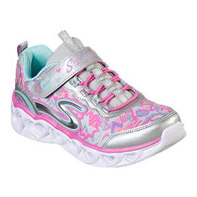 dde460b1ae574 Skechers Girls' Heart Lights Grade School Shoes - Silver/Multi