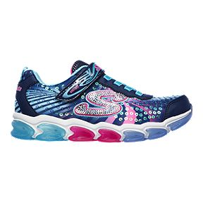 63a715b1ada17 Skechers Girls  Jelly Beams Lights Pre-School Shoes - Navy Multi