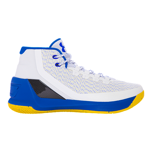 02f725ca6be0 Under Armour Men s Curry 3 Basketball Shoes - White Blue Yellow ...