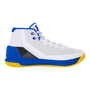 963ca6654336 Under Armour Men s Curry 3 Basketball Shoes - White Blue Yellow