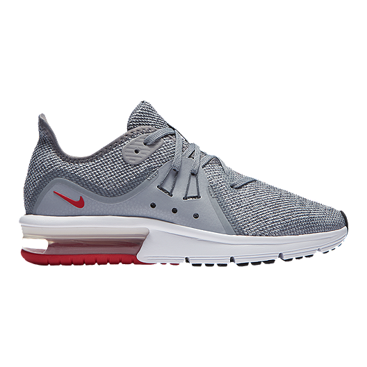 77ced6290ac48 Nike Boys' Air Max Sequent 3 Grade School Shoes - Grey/Red