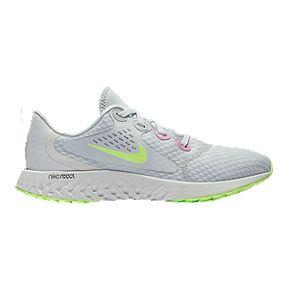 55319f32 Nike Girls' Legend React Grade School Running Shoes - Platinum/Volt