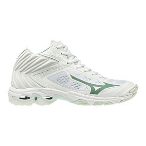 new styles 57d98 0a553 Mizuno Women s Wave Lightning Z5 Mid Cut Indoor Court Shoes - White Blue