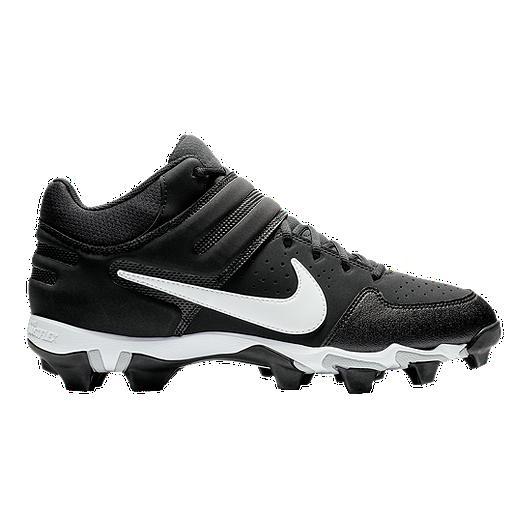 e88bb024654c Nike Men s Alpha Huarache Keystone Mid Cut Baseball Cleats - Black White