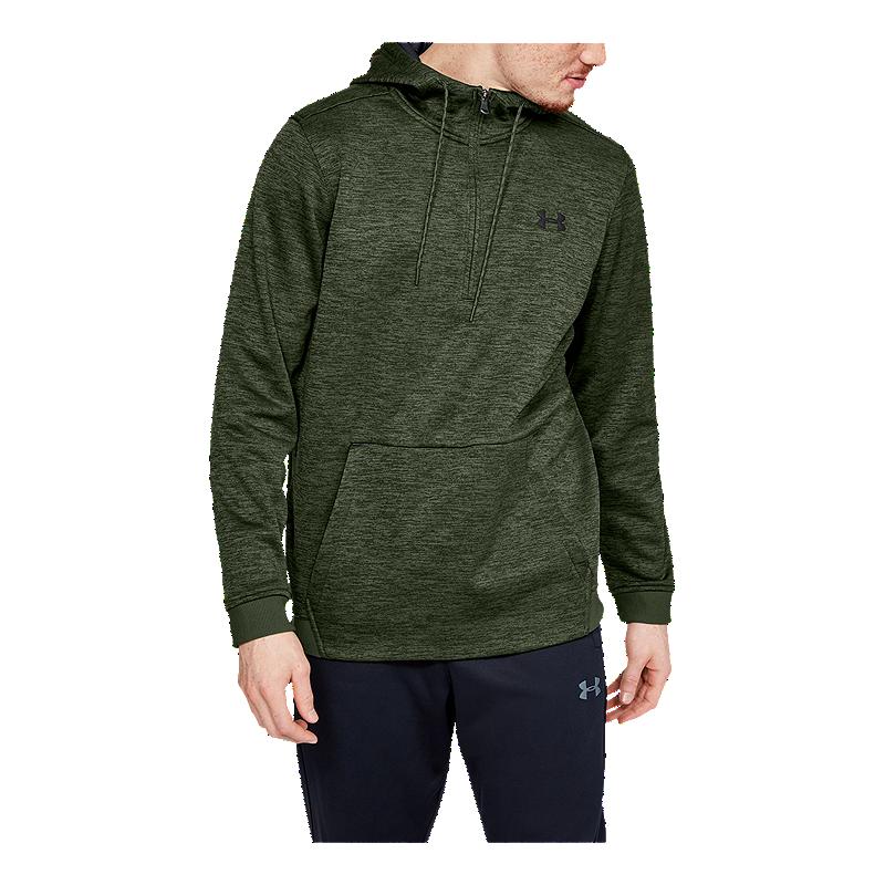 Under Armour Mens Fleece 1//2 Zip Hoodie Green Sports Gym Half Breathable