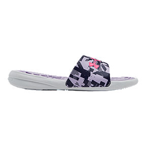 Under Armour Girls' Playmaker Jagger Slide Sandals - White/Salt Purple