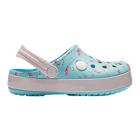 Crocs Toddler Crocband Multi-Graphic Clogs - Ice Blue Flamingos