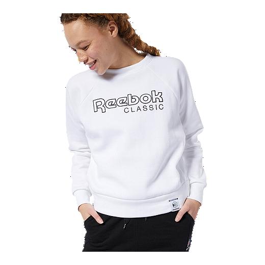 6a6b564d6b40a Reebok Women's Classics Big Logo Sweatshirt - WHITE/BLACK