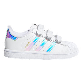 adidas Girl Toddler Superstar Shoes - White/Metallic Silver