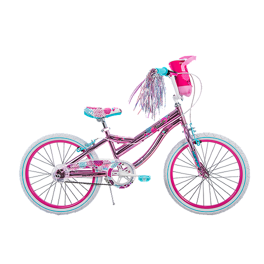 "KIDS BICYCLE PLASTIC BASKET PINK  W//FLOWERS STRAPS-ON  FOR 16/""//20/"" BIKES NEW!"