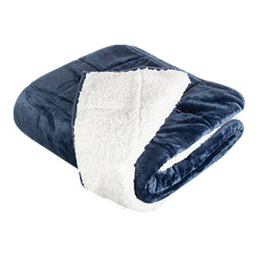 Pur Serenity Velvet/Sherpa 15LB Weighted Blanket - Navy