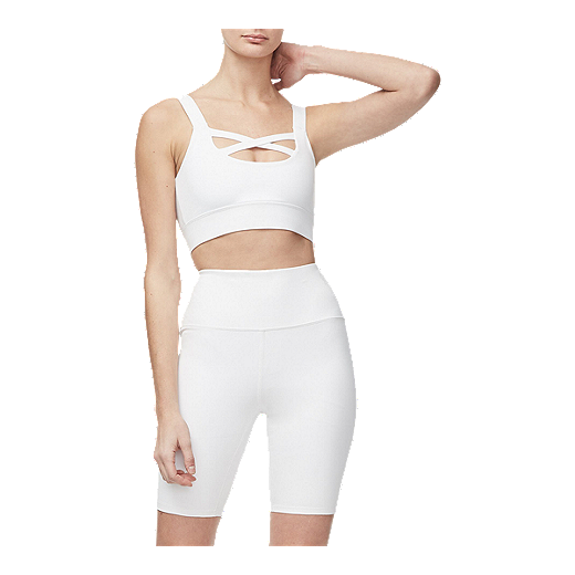 Good American Women's Cross Front Sports Bra   White by Sport Chek