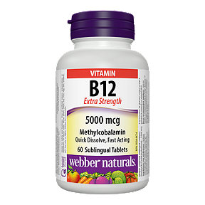 Webber Naturals Vitamin B12 Extra Strength Methyl cobalamin 5000 Mcg 60 Sublingual Tablets