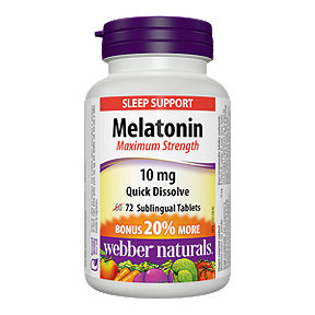 Webber Naturals Melatonin Maximum Strength Quick Dissolve 10 Mg Bonus 60+12 Sublingual Tablets