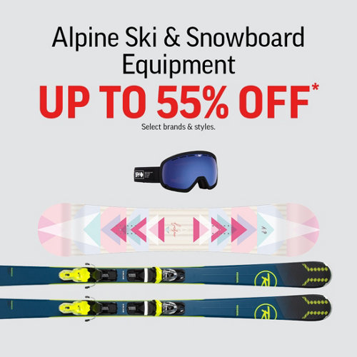 Alpine Ski & Snowboard Equipment Up to 55% Off* Select Brands & Styles.