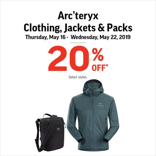 Arc'teryx Clothing, Jackets & Packs 20% Off* Select Styles.