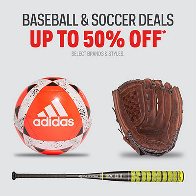 Baseball & Soccer Gear Up to 50% Off*