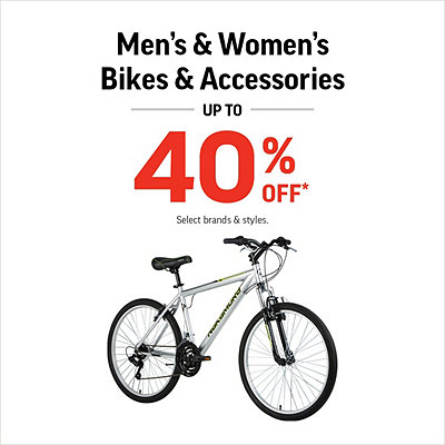 Select Men's & Women's Bikes & Accessories Up To 40% Off*