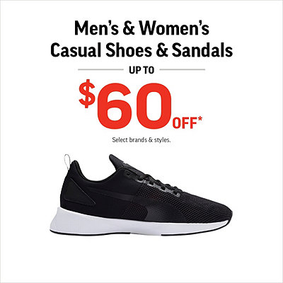 Men's & Women's Casual Shoes & Sandals Up to $60 Off*