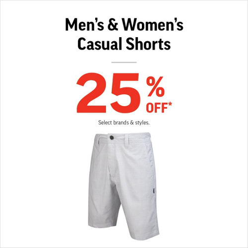 Men's & Women's Casual Shorts 25% Off* Select brands & styles.