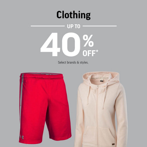 Clothing Up to 40% Off* Select Brands & Styles.