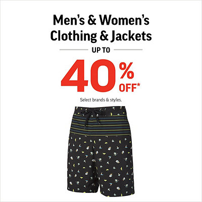 Men's & Women's Clothing & Jackets up to 40% Off*