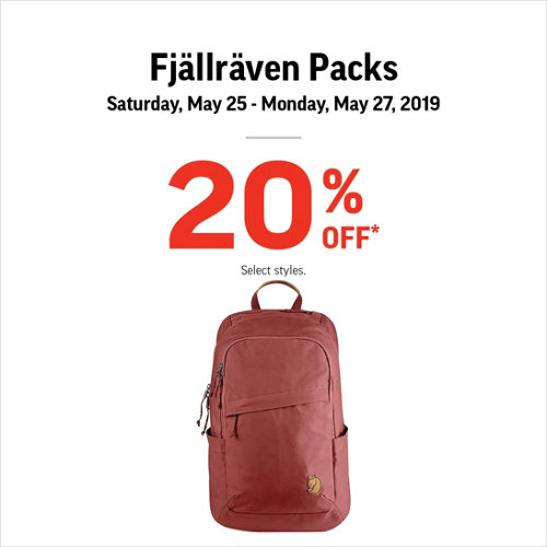 Fjallraven Packs 20% Off* May 25-27, 2019. Select styles.