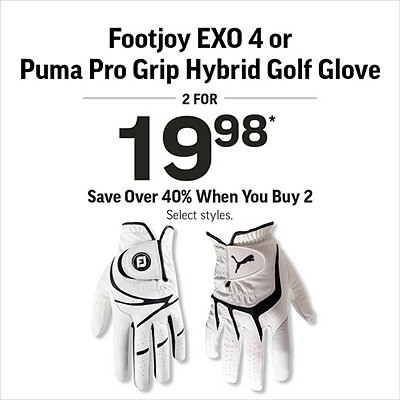Select Golf gloves 2 for $19.98